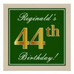 [ Thumbnail: Elegant, Green, Faux Gold 44th Birthday + Name Poster ]
