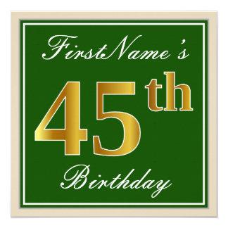 Elegant, Green, Faux Gold 45th Birthday + Name Card