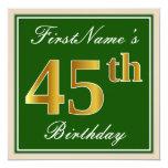 [ Thumbnail: Elegant, Green, Faux Gold 45th Birthday + Name Invitation ]