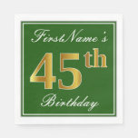 [ Thumbnail: Elegant Green, Faux Gold 45th Birthday + Name Paper Napkin ]