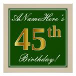 [ Thumbnail: Elegant, Green, Faux Gold 45th Birthday + Name Poster ]