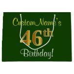 [ Thumbnail: Elegant, Green, Faux Gold 46th Birthday + Name Gift Bag ]