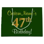 [ Thumbnail: Elegant, Green, Faux Gold 47th Birthday + Name Gift Bag ]