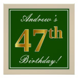 [ Thumbnail: Elegant, Green, Faux Gold 47th Birthday + Name Poster ]