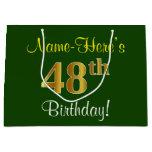 [ Thumbnail: Elegant, Green, Faux Gold 48th Birthday + Name Gift Bag ]