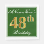 [ Thumbnail: Elegant Green, Faux Gold 48th Birthday + Name Napkin ]