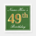 [ Thumbnail: Elegant Green, Faux Gold 49th Birthday + Name Napkin ]