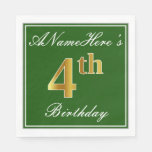 [ Thumbnail: Elegant Green, Faux Gold 4th Birthday; Custom Name Paper Napkin ]