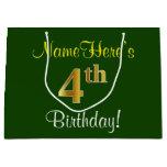 [ Thumbnail: Elegant, Green, Faux Gold 4th Birthday + Name Gift Bag ]