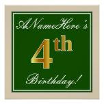 [ Thumbnail: Elegant, Green, Faux Gold 4th Birthday + Name Poster ]