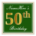 [ Thumbnail: Elegant, Green, Faux Gold 50th Birthday + Name Invitation ]