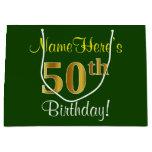[ Thumbnail: Elegant, Green, Faux Gold 50th Birthday + Name Gift Bag ]