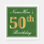 [ Thumbnail: Elegant Green, Faux Gold 50th Birthday + Name Paper Napkin ]