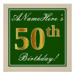 [ Thumbnail: Elegant, Green, Faux Gold 50th Birthday + Name Poster ]