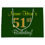 [ Thumbnail: Elegant, Green, Faux Gold 51st Birthday + Name Gift Bag ]