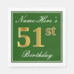 [ Thumbnail: Elegant Green, Faux Gold 51st Birthday + Name Napkin ]