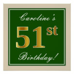 [ Thumbnail: Elegant, Green, Faux Gold 51st Birthday + Name Poster ]