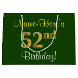 [ Thumbnail: Elegant, Green, Faux Gold 52nd Birthday + Name Gift Bag ]