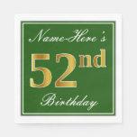 [ Thumbnail: Elegant Green, Faux Gold 52nd Birthday + Name Napkin ]