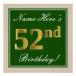 [ Thumbnail: Elegant, Green, Faux Gold 52nd Birthday + Name Poster ]