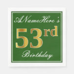 [ Thumbnail: Elegant Green, Faux Gold 53rd Birthday + Name Napkin ]