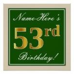 [ Thumbnail: Elegant, Green, Faux Gold 53rd Birthday + Name Poster ]