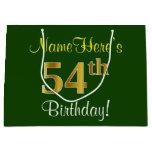 [ Thumbnail: Elegant, Green, Faux Gold 54th Birthday + Name Gift Bag ]