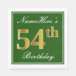 [ Thumbnail: Elegant Green, Faux Gold 54th Birthday + Name Napkin ]