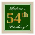 [ Thumbnail: Elegant, Green, Faux Gold 54th Birthday + Name Poster ]