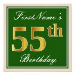 [ Thumbnail: Elegant, Green, Faux Gold 55th Birthday + Name Invitation ]