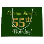 [ Thumbnail: Elegant, Green, Faux Gold 55th Birthday + Name Gift Bag ]