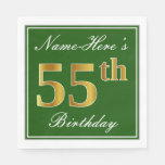 [ Thumbnail: Elegant Green, Faux Gold 55th Birthday + Name Paper Napkin ]