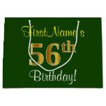 [ Thumbnail: Elegant, Green, Faux Gold 56th Birthday + Name Gift Bag ]