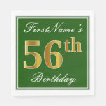 [ Thumbnail: Elegant Green, Faux Gold 56th Birthday + Name Napkin ]