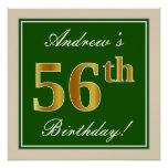 [ Thumbnail: Elegant, Green, Faux Gold 56th Birthday + Name Poster ]