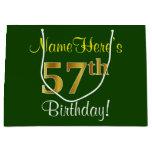 [ Thumbnail: Elegant, Green, Faux Gold 57th Birthday + Name Gift Bag ]