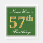[ Thumbnail: Elegant Green, Faux Gold 57th Birthday + Name Napkin ]