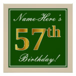 [ Thumbnail: Elegant, Green, Faux Gold 57th Birthday + Name Poster ]
