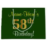 [ Thumbnail: Elegant, Green, Faux Gold 58th Birthday + Name Gift Bag ]