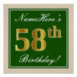 [ Thumbnail: Elegant, Green, Faux Gold 58th Birthday + Name Poster ]