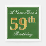 [ Thumbnail: Elegant Green, Faux Gold 59th Birthday + Name Napkin ]