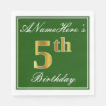[ Thumbnail: Elegant Green, Faux Gold 5th Birthday; Custom Name Napkin ]