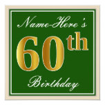 [ Thumbnail: Elegant, Green, Faux Gold 60th Birthday + Name Invitation ]