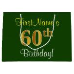 [ Thumbnail: Elegant, Green, Faux Gold 60th Birthday + Name Gift Bag ]