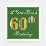 [ Thumbnail: Elegant Green, Faux Gold 60th Birthday + Name Napkin ]