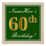 [ Thumbnail: Elegant, Green, Faux Gold 60th Birthday + Name Poster ]