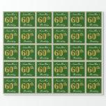 [ Thumbnail: Elegant, Green, Faux Gold 60th Birthday + Name Wrapping Paper ]