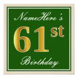 [ Thumbnail: Elegant, Green, Faux Gold 61st Birthday + Name Invitation ]