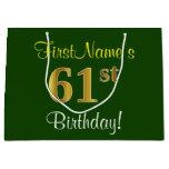 [ Thumbnail: Elegant, Green, Faux Gold 61st Birthday + Name Gift Bag ]