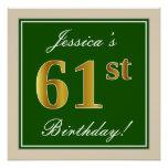 [ Thumbnail: Elegant, Green, Faux Gold 61st Birthday + Name Poster ]